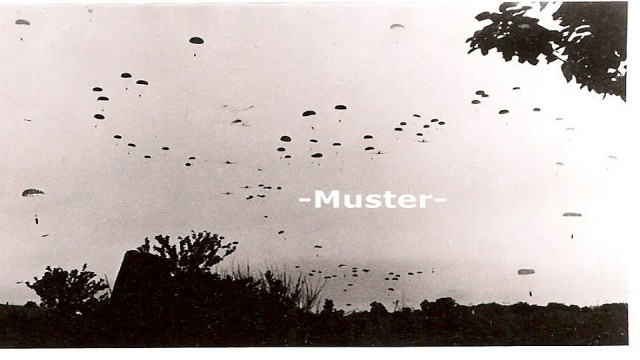 Parachutes falling from the sky in Crete, May 20, 1941.