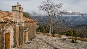 The temple of Panagia and Mt Psiloritis in the background|||||